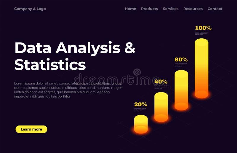 数据分析和统计 着陆与等量图表的页模板 网站页模板 皇族释放例证