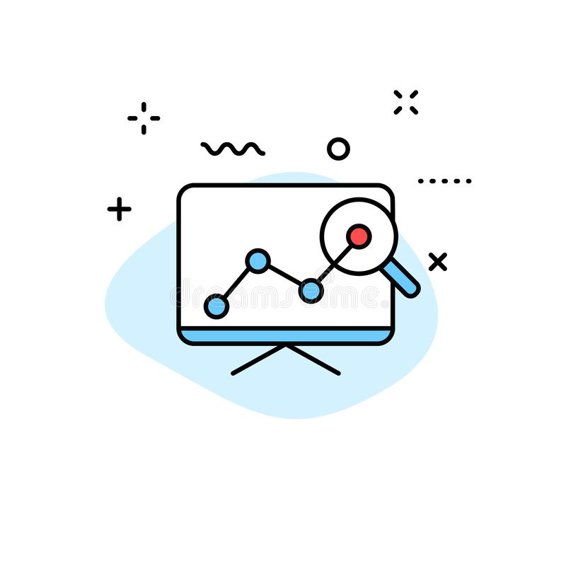 数据分析在线型的网象 图表,分析,大数据,成长,图,研究 也corel凹道例证向量 向量例证