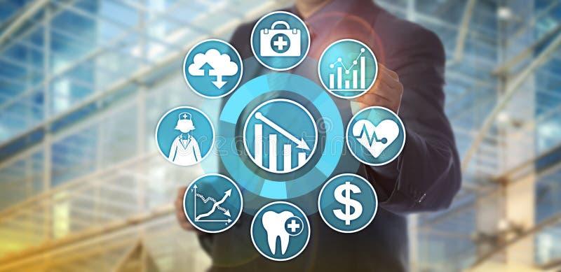 数据分析家监视医疗保健成本降低 库存图片