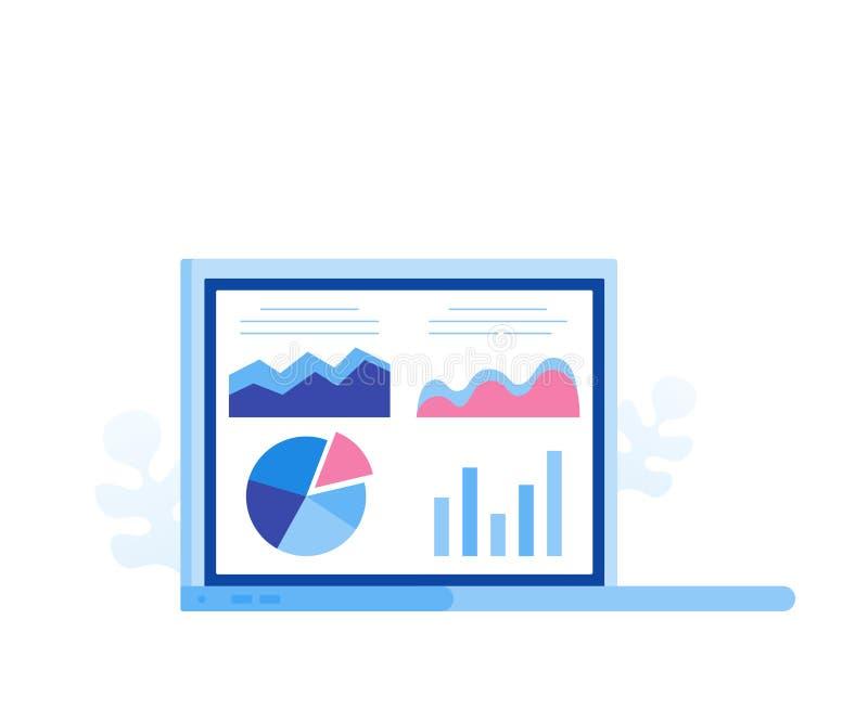 数据分析概念 分析家工作 有数据分析图表和图的膝上型计算机屏幕 现代平的样式传染媒介例证 库存例证