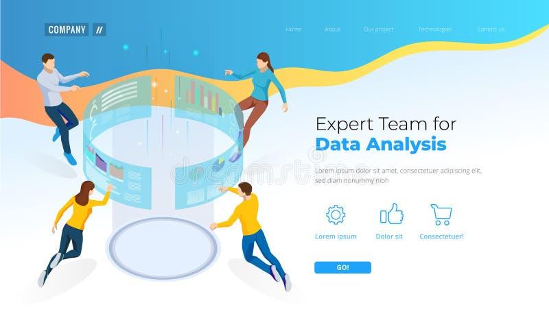 数据分析的专家小组 等量企业数据逻辑分析方法进程管理或智力仪表板在 皇族释放例证