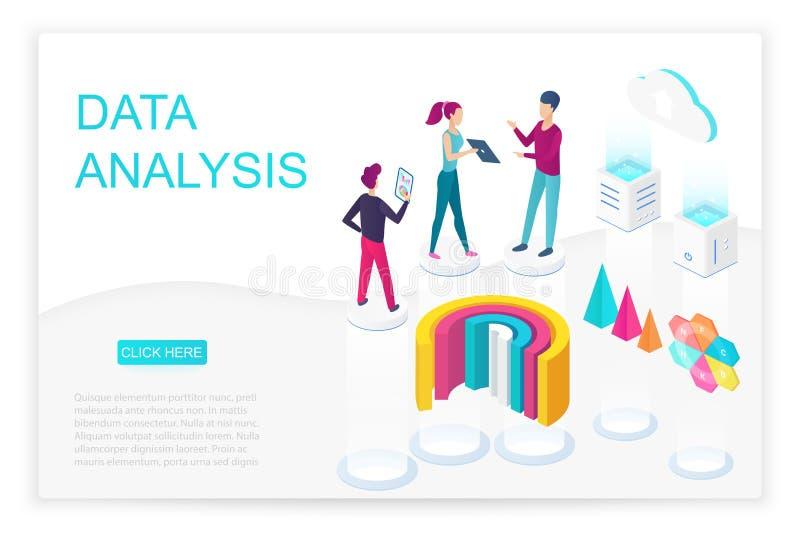 数据分析等量登陆的页传染媒介模板 向量例证