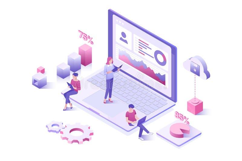数据分析,统计汇集 互动与仪表板的登陆的页模板人民 库存例证