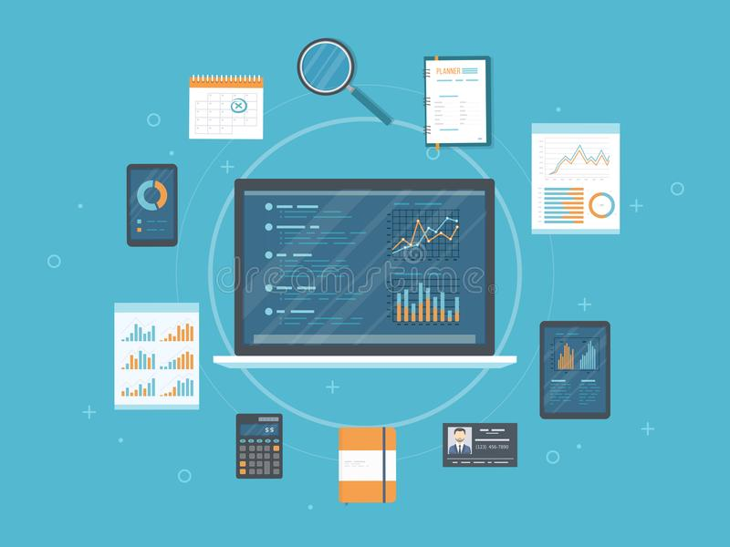 数据分析,逻辑分析方法,验核,研究 网和网上流动服务 文件,在膝上型计算机的屏幕上的图图表打电话 库存例证