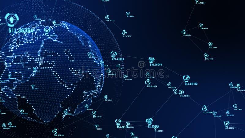 数据和连接道路网络行销的抽象表示法 美国航空航天局装备的地球元素 图库摄影