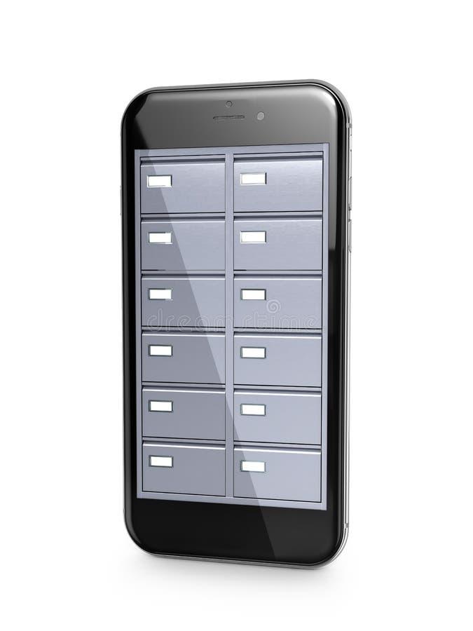 数据商店 在一个流动响度单位的屏幕的里面文件柜 库存例证