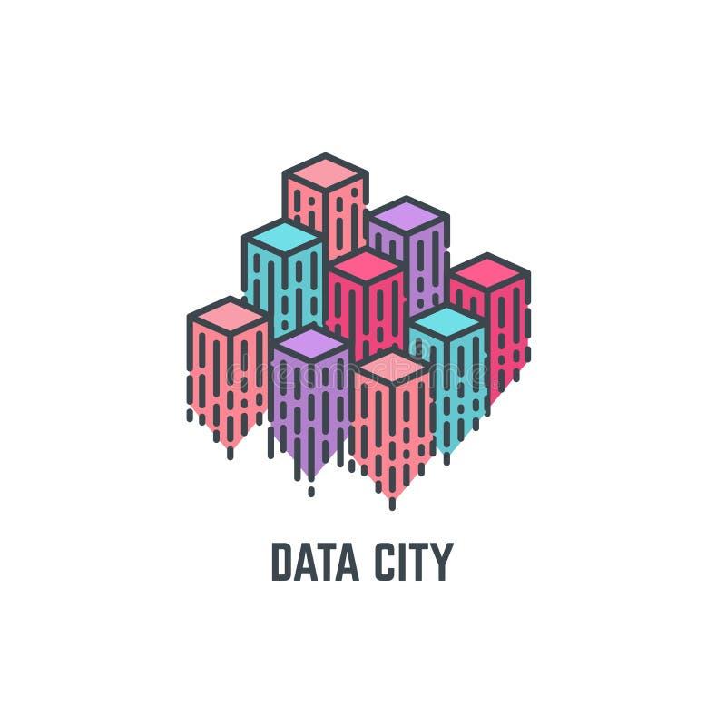 数据城市摩天大楼 皇族释放例证