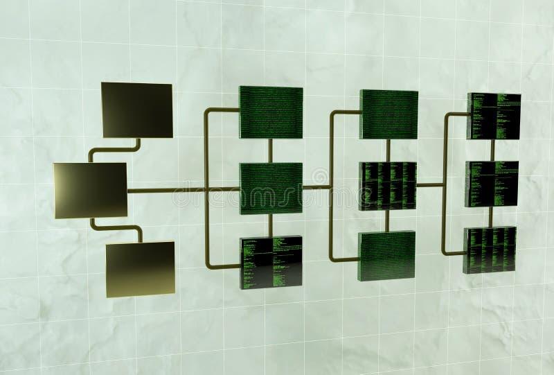 数据处理 网络阶层的概念 3d回报网络连接 向量例证