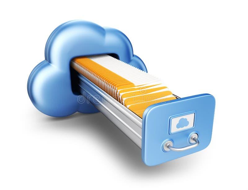 数据存储。云彩计算的概念。3D被隔绝的象 库存例证