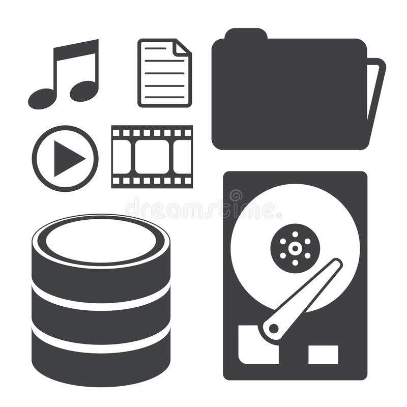 数据存储和媒介象 库存例证