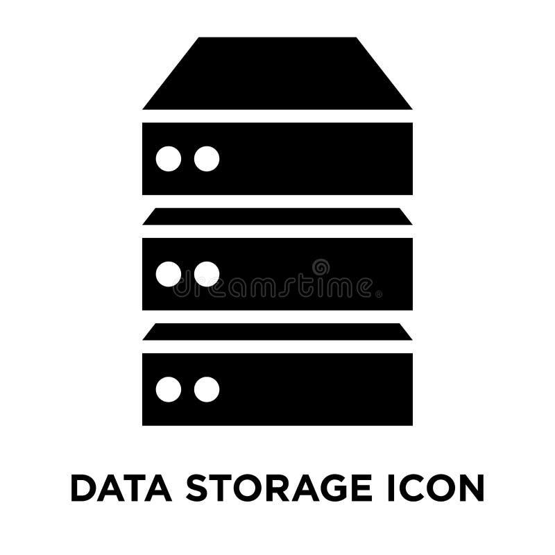 数据存储在白色背景隔绝的象传染媒介,浓缩的商标 库存例证