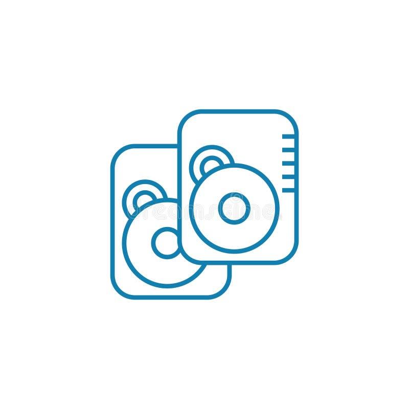 数据存储设备线性象概念 数据存储设备排行传染媒介标志,标志,例证 向量例证