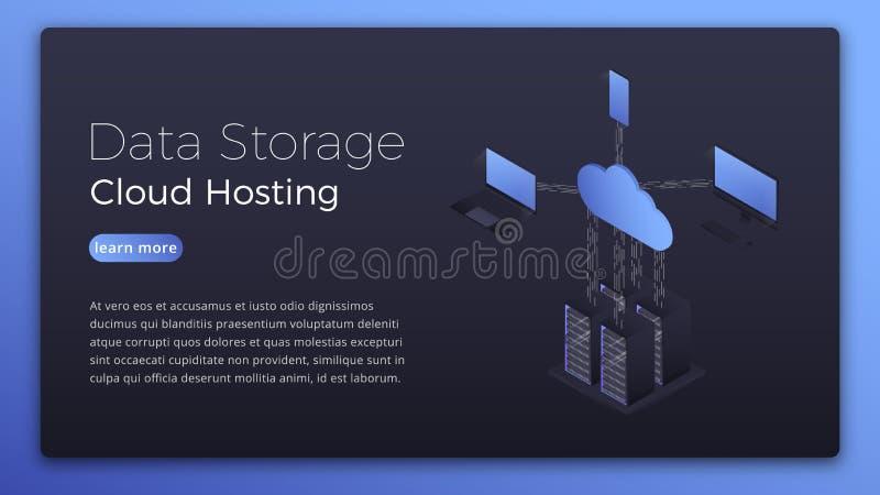 数据存储 主持等量概念的云彩 主持技术英雄图象设计的现代数据 皇族释放例证