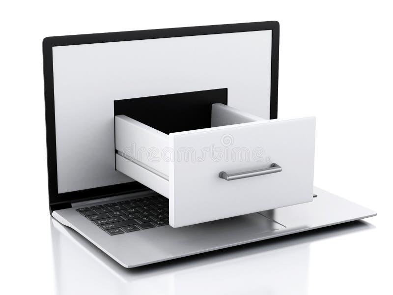 数据存储 有文件柜的膝上型计算机 向量例证