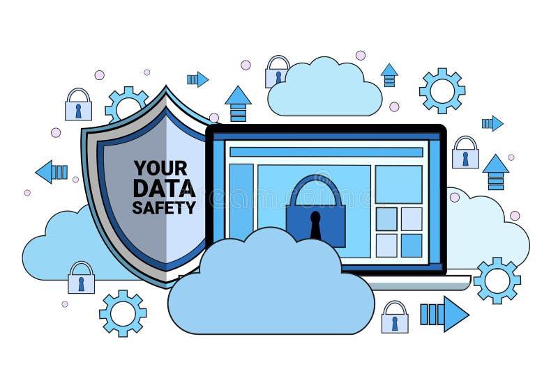 数据安全云彩盾在同步一般数据保护章程GDPR服务器安全的片剂挂锁 库存例证
