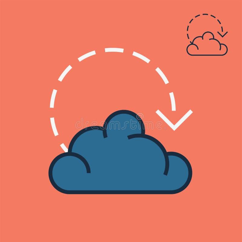 数据室象和服务器农厂标志在线性样式 向量例证