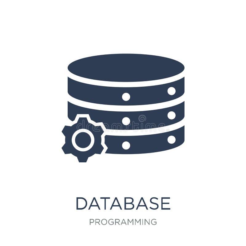 数据库图标 在白色backgro的时髦平的传染媒介数据库象 库存例证