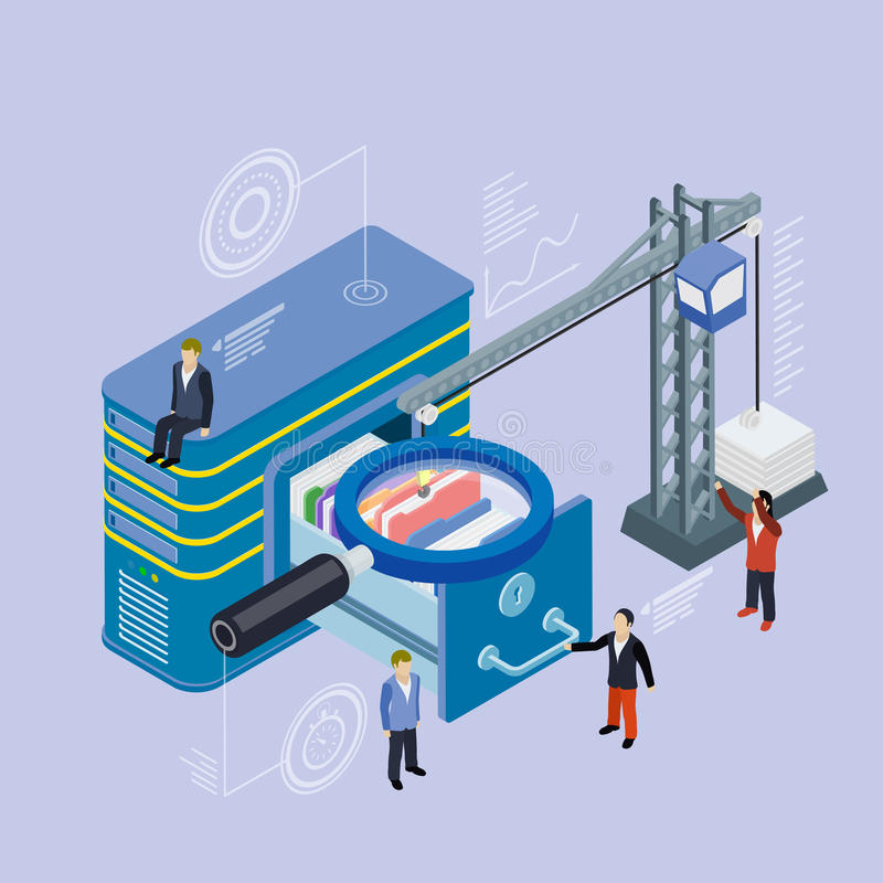 数据库存贮服务器 平的3d等量传染媒介 库存例证