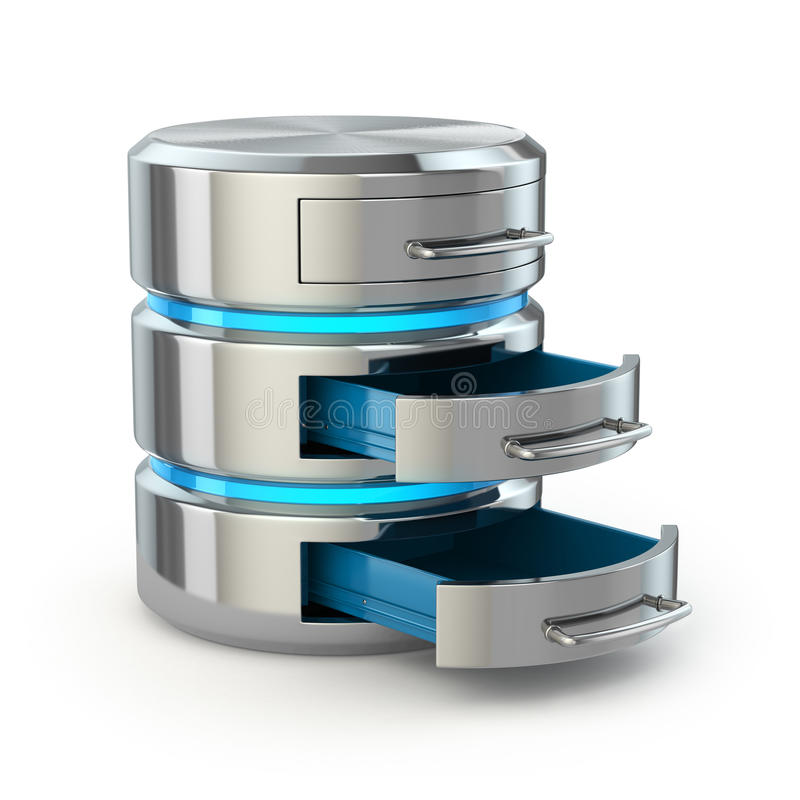 数据库存贮概念 在白色隔绝的硬盘象 向量例证