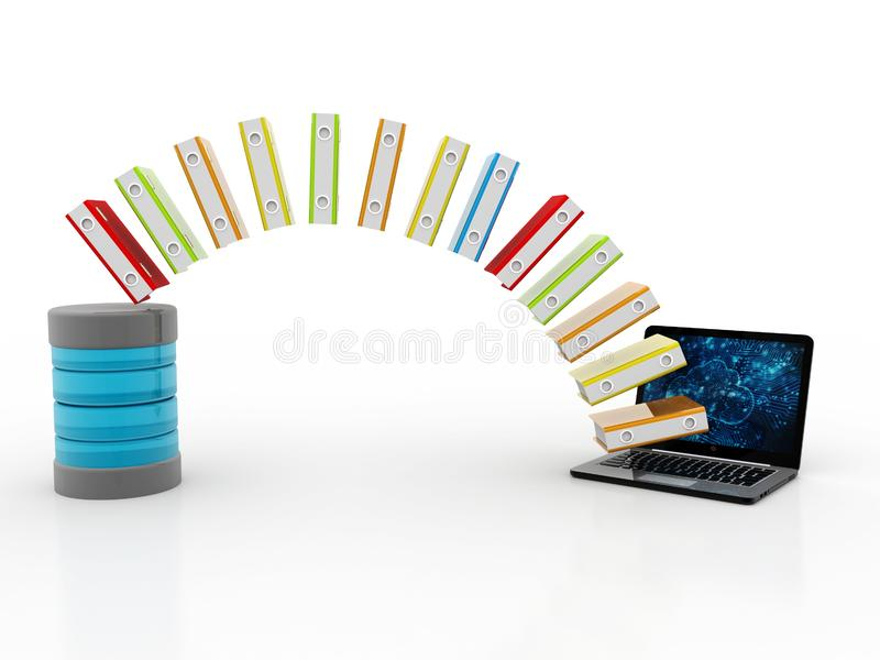 数据库或档案概念、膝上型计算机和文件柜有圆环包扎工具的 3d回报 向量例证