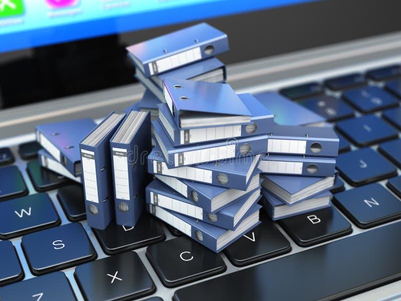 数据库或档案概念 数据存储 膝上型计算机和文件客舱 皇族释放例证