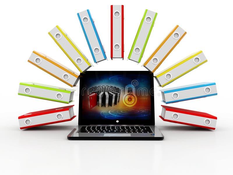 数据库或档案概念 膝上型计算机和文件柜有圆环包扎工具的 3d 向量例证