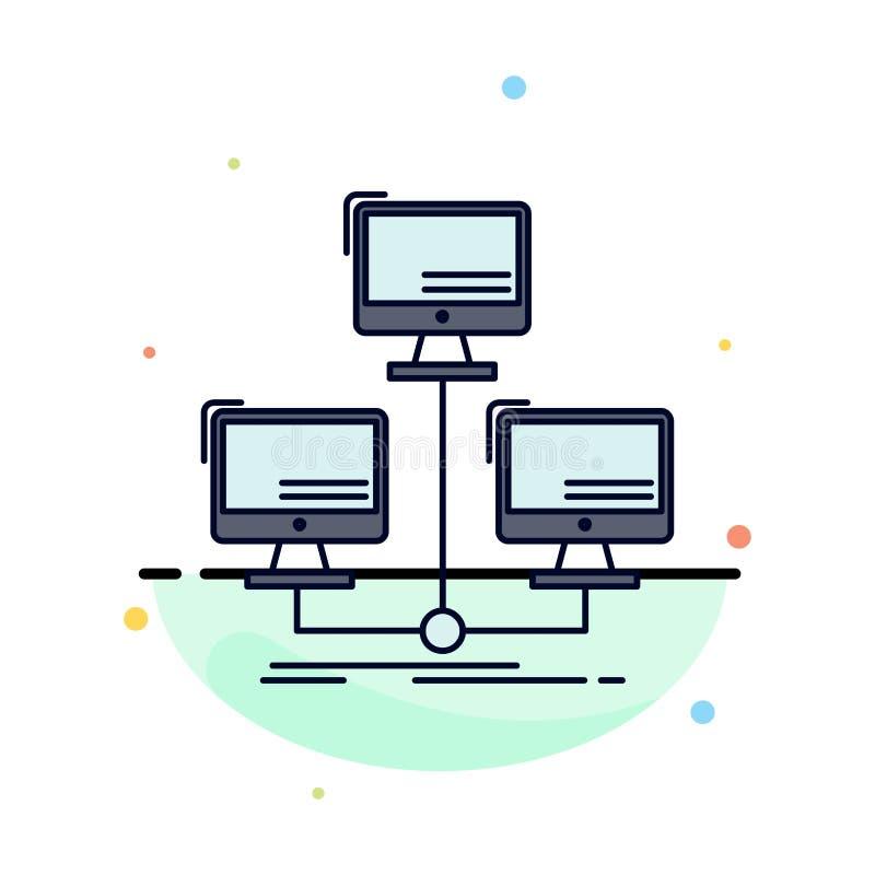数据库,分布,连接,网络,计算机平的颜色象传染媒介 向量例证