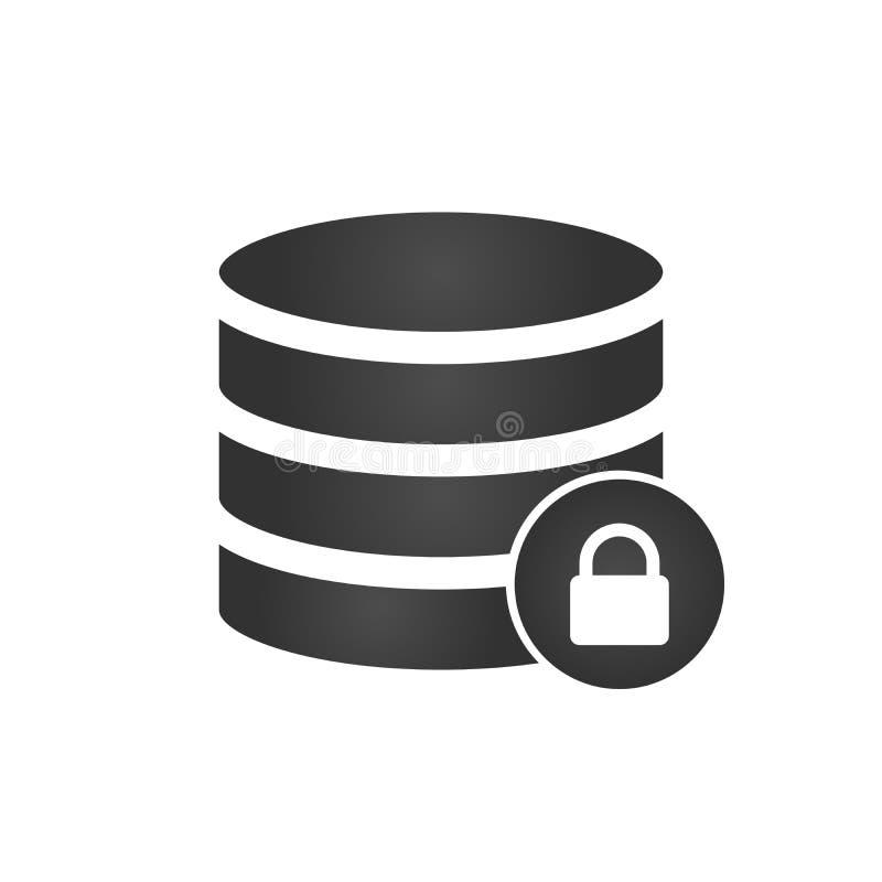 数据库,服务器与锁象的被隔绝的平的网流动象 在空白背景查出的向量例证 向量例证