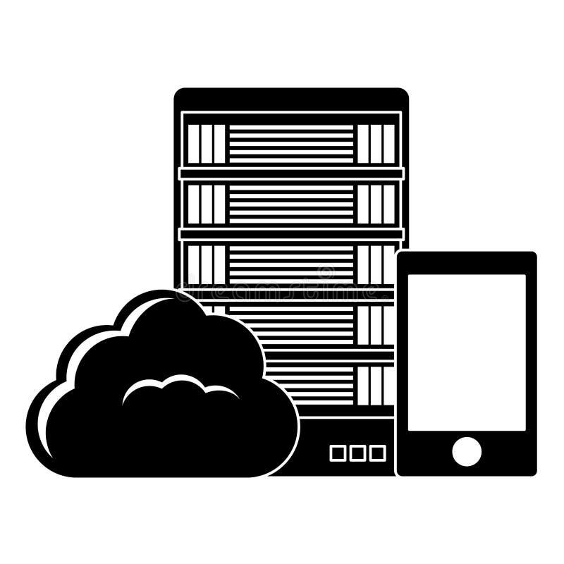 黑数据库主持的和调整的智能手机图象 库存例证
