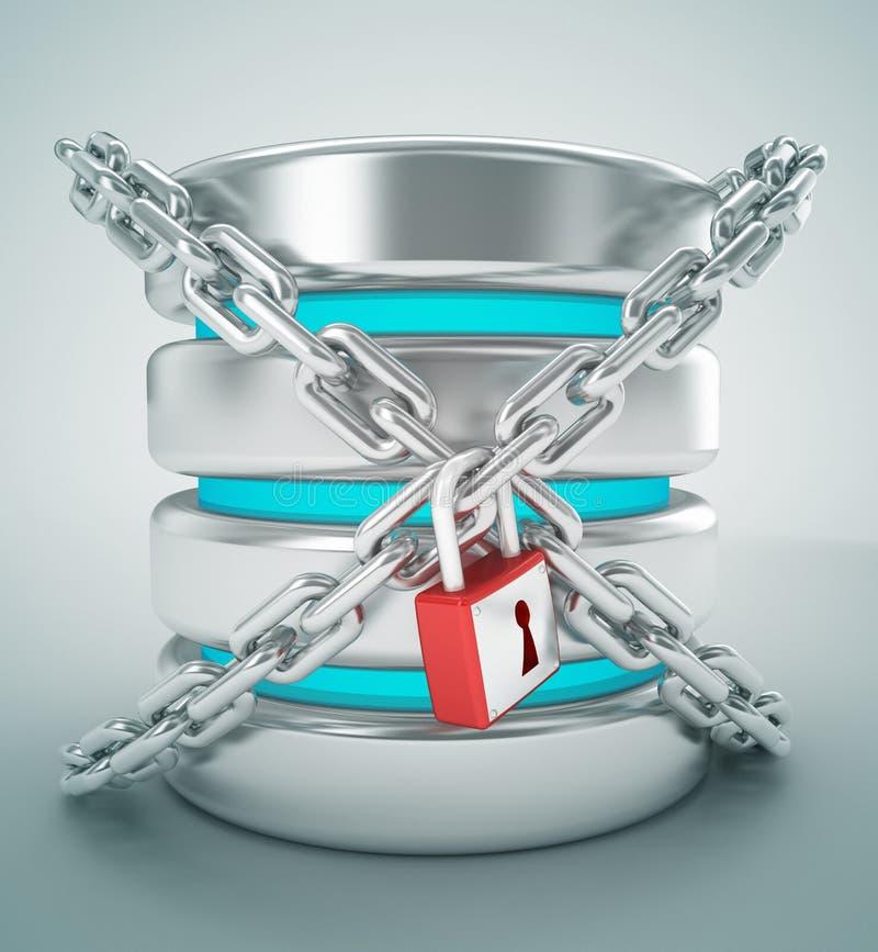 数据库stogare和链子互联网锁概念 向量例证