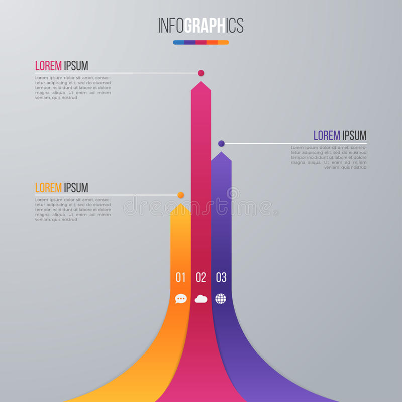 数据形象化的长条图infographic模板与3选择 库存例证