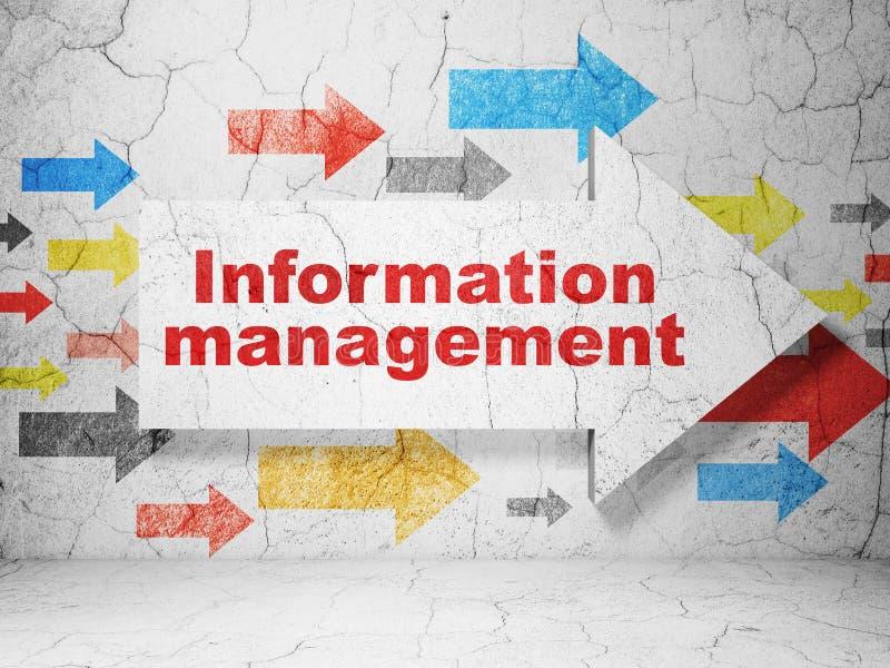 数据概念:与信息管理的箭头在难看的东西墙壁背景 库存例证