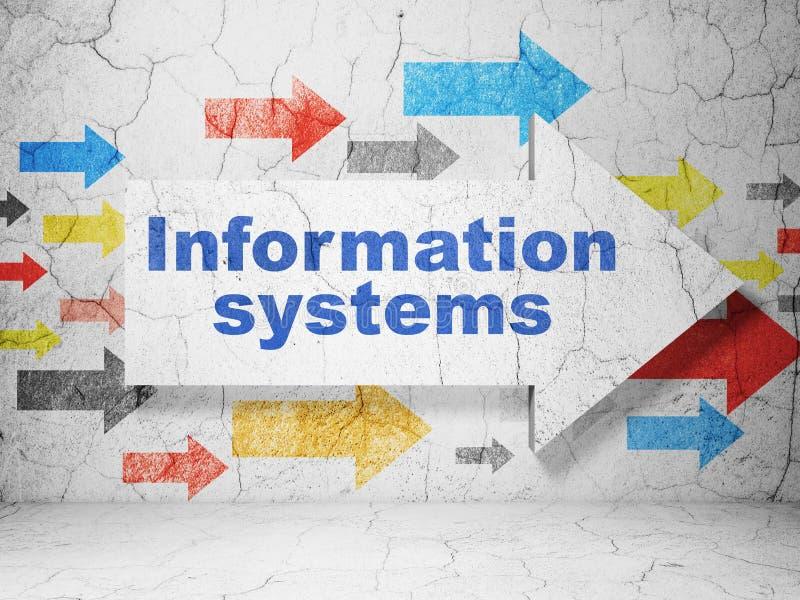 数据概念:与信息系统的箭头在难看的东西墙壁背景 皇族释放例证