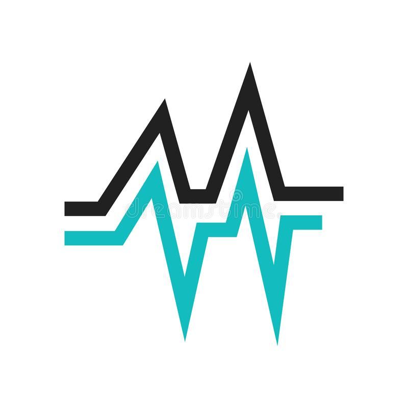 数据波浪象在白色背景和标志隔绝的传染媒介标志,数据波浪商标概念 向量例证
