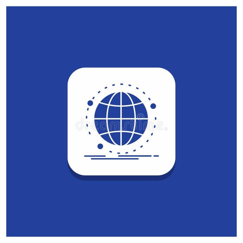 数据的蓝色圆的按钮,全球性,互联网,网络,网纵的沟纹象 库存例证