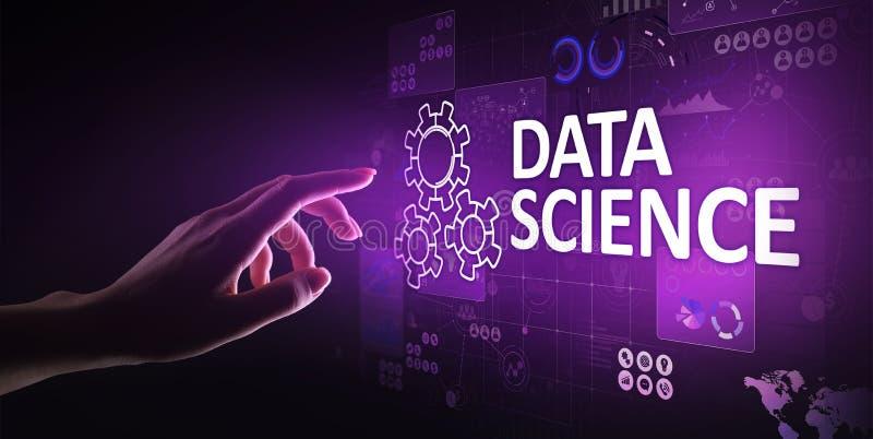 数据科学和深深学会 人工智能,分析 互联网和现代技术概念 库存例证