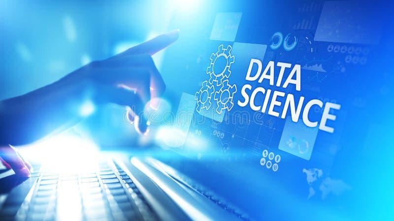 数据科学和深深学会 人工智能,分析 互联网和现代技术概念 皇族释放例证