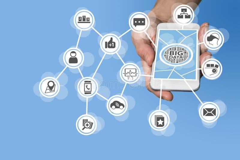 数据科学家和大数据概念为了进行对来自IOT设备的传感器数据的有预测性的分析喜欢汽车 免版税库存图片