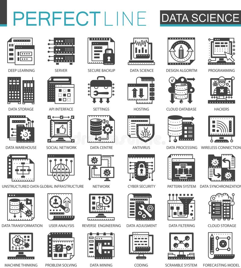 数据科学技术经典黑微型概念标志 机器学习处理现代象图表传染媒介 向量例证