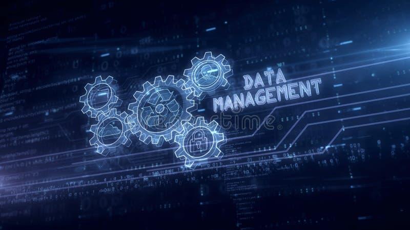 数据管理标志全息图 向量例证