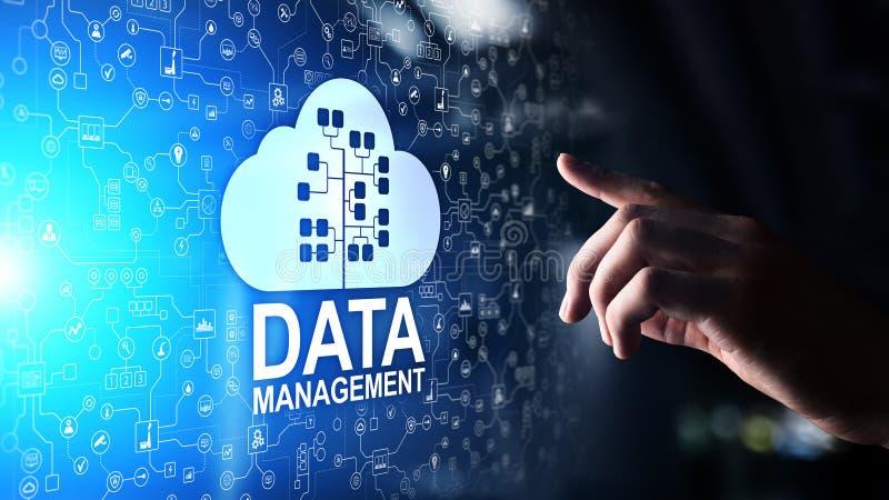 数据管理系统、云彩技术、互联网和企业概念 向量例证