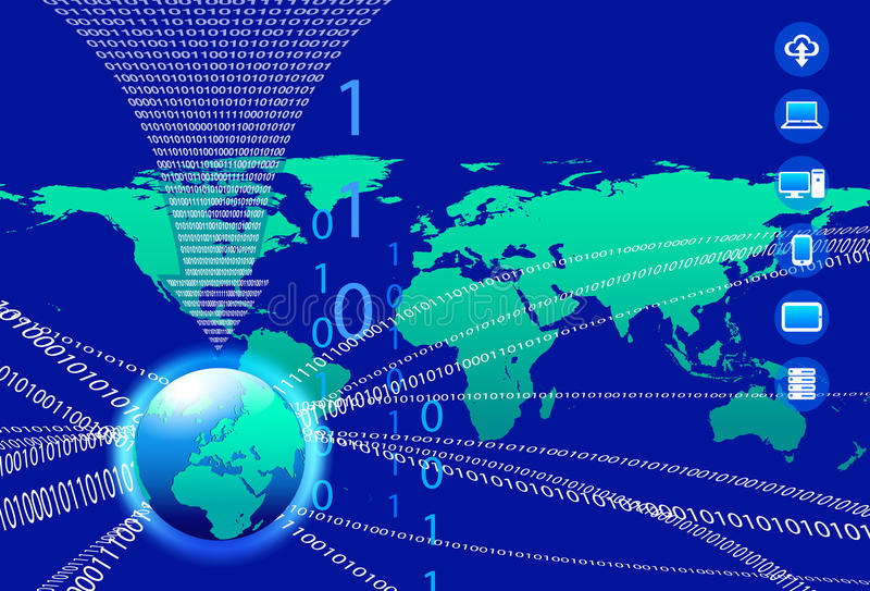 数据背景-二进制编码技术小河 库存例证