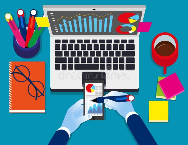 数据逻辑分析方法 经济情况统计信息企业技术,概念企业传染媒介例证,顶视图,平的事务 向量例证