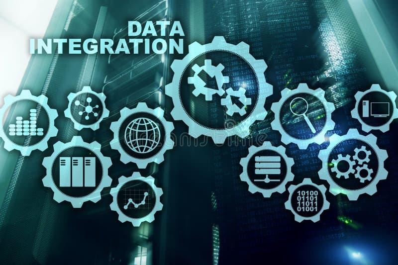 数据集成企业在服务器室背景的信息技术概念 库存照片