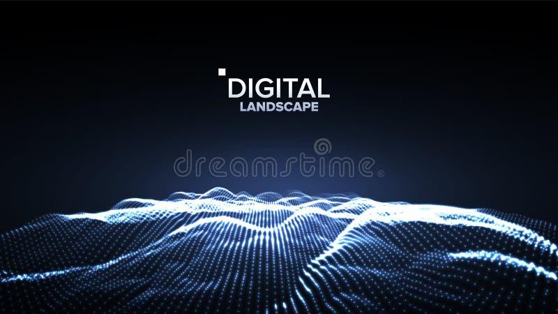 数据风景传染媒介 能量空间 地势代码 列阵设计 数据技术 波浪山 3d例证 向量例证