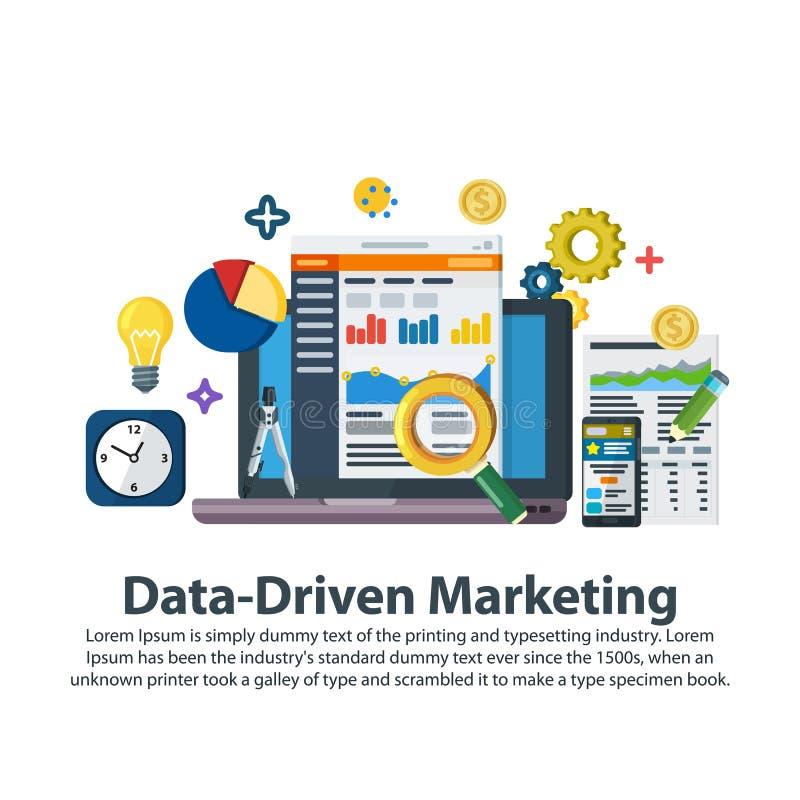 数据驱动销售方针 在平的样式的网模板 业务发展,主角一代,收支增量 商业增长 皇族释放例证