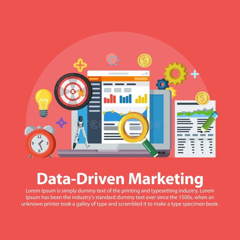 数据驱动销售方针 在平的样式的网横幅 带领一代,赢利,企业与象的成长概念 事务gr 向量例证