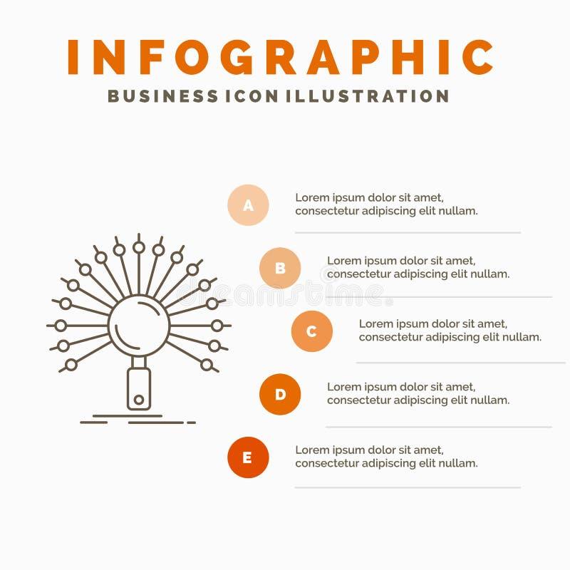 数据,信息,与信息有关,网络、检索Infographics模板网站的和介绍 E 库存例证
