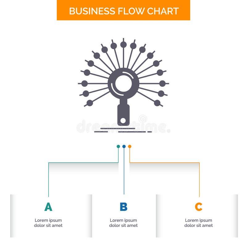 数据,信息,与信息有关,网络,检索企业与3步的流程图设计 r 皇族释放例证