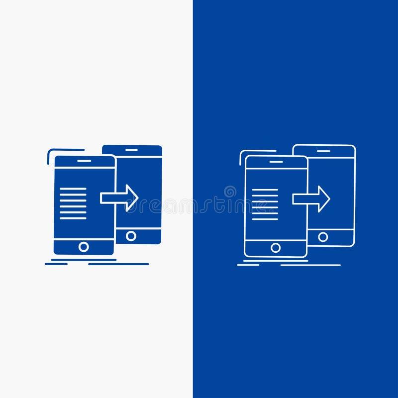 数据,分享,同步、同步,syncing的线和纵的沟纹网按钮在蓝色垂直的横幅UI和UX的,网站或 向量例证
